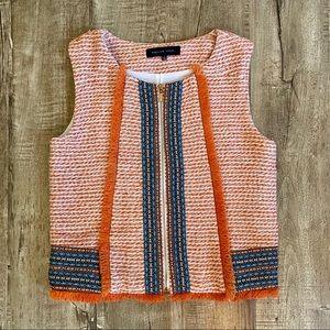 NWOT Endless Rose Orange Tweed Tribal Print Top S